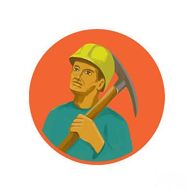 Coal Miner Pick Axe Circle Watercolor Poster