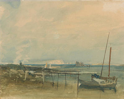 Coast Scene With White Cliffs And Boats On Shore Poster by Joseph Mallord William Turner