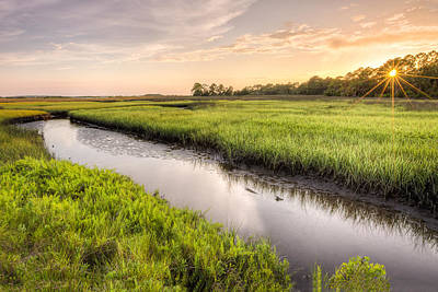 Coastal Florida Landscape - Late Afternoon On The Marsh  Poster by Bill Swindaman