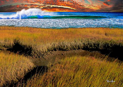 Coastal Marsh At Sunset Poster by Russ Harris