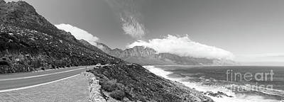 Coastal Road South Africa Black And White Poster