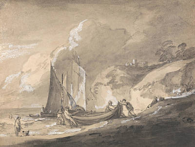 Coastal Scene With Figures And Boats  Poster