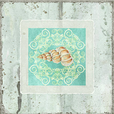 Coastal Trade Winds 4 - Driftwood Precious Wentletop Seashell Poster