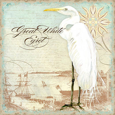 Coastal Waterways - Great White Egret 2 Poster by Audrey Jeanne Roberts