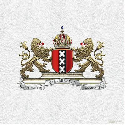 Coat Of Arms Of Amsterdam Over White Leather  Poster by Serge Averbukh