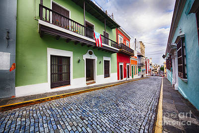 Cobblestone Street With Colorful Houses Poster by George Oze