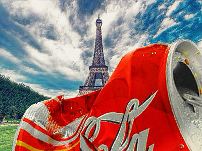 Coca-cola Can Trash Oh Yeah - And The Eiffel Tower Poster by Tony Rubino