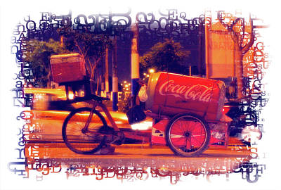 Poster featuring the photograph Coca Cola Tricycle Bin - Lima by Mary Machare