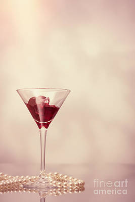 Cocktail Glass With Pearl Necklace Poster