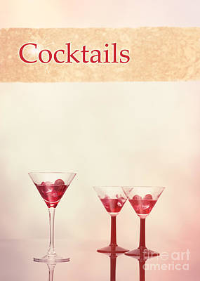 Cocktails At The Bar Poster by Amanda Elwell