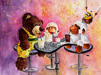 Coconut And Truffle Mcfurry Having A Drink Poster by Miki De Goodaboom