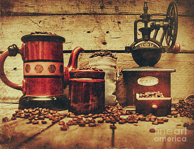 Coffee Bean Grinder Beside Old Pot Poster