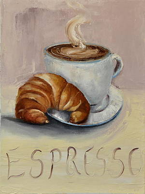 Poster featuring the painting Coffee Break by Lindsay Frost