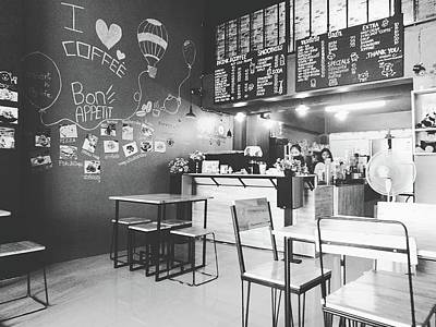 Coffee Cafe Black And White Poster