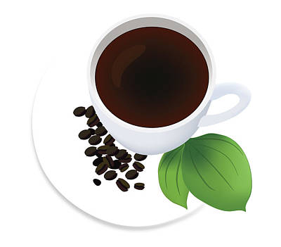 Coffee Cup On Saucer With Beans Poster by Serena King