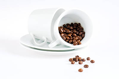 Coffee Cups And Coffee Beans  Poster