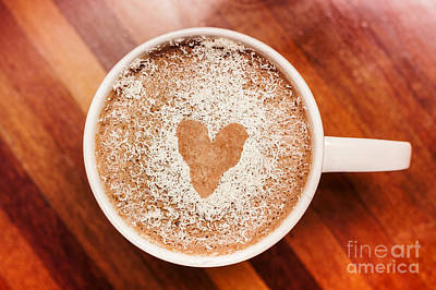 Coffee Love. White Coffee Cup On Wooden Background Poster