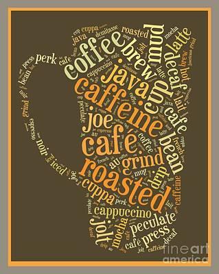 Coffee Lovers Word Cloud Poster by Edward Fielding