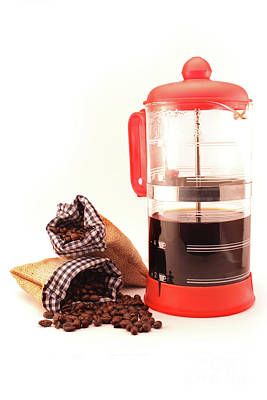 Coffee Machine And Coffee Beans Bags Poster