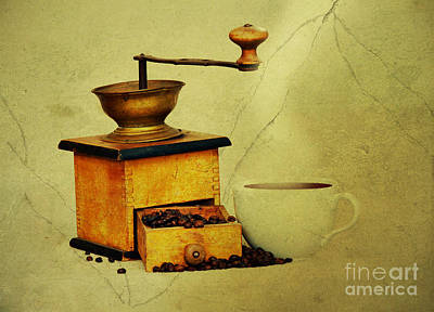 Coffee Mill And Cup Of Hot Black Coffee Poster