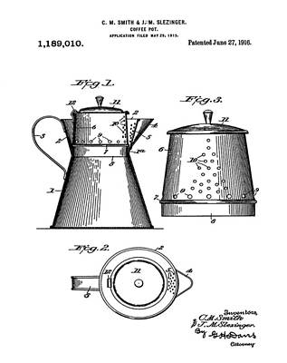 Coffee Pot Patent 1916  Poster by Bill Cannon