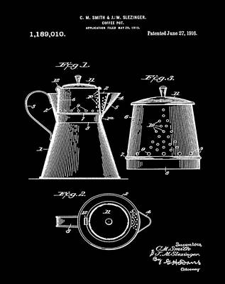 Coffee Pot Patent 1916 Black Poster by Bill Cannon