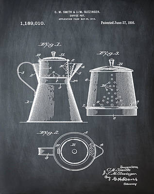 Coffee Pot Patent 1916 Chalk Poster by Bill Cannon