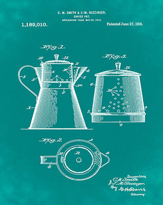 Coffee Pot Patent 1916 Green Poster by Bill Cannon