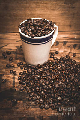 Coffee Shop Cup And Beans Poster by Jorgo Photography - Wall Art Gallery