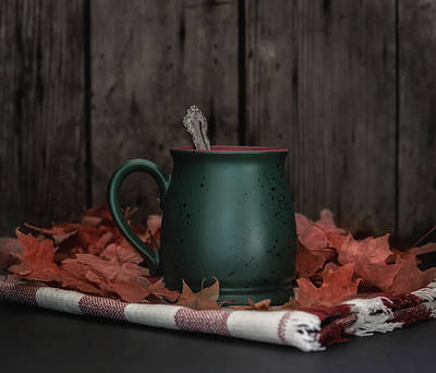 Coffee, Tea And Autumn Poster by Kim Hojnacki