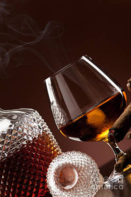 Cognac In Snifter And A Cigar Poster