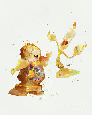 Cogsworth And Lumiere Poster by Monn Print