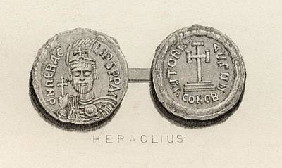Coin From The Time Of Heraclius, A.d Poster