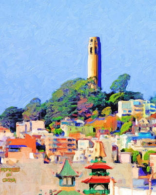 Coit Tower And The Empress Of China - Photo Artwork Poster by Wingsdomain Art and Photography