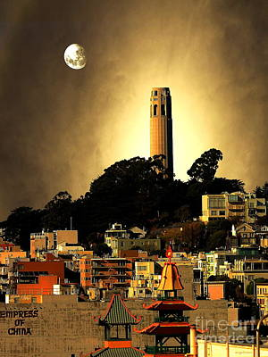 Coit Tower And The Empress Of China Under The Golden Moonlight Poster by Wingsdomain Art and Photography