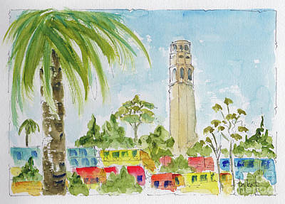Poster featuring the painting Coit Tower by Pat Katz