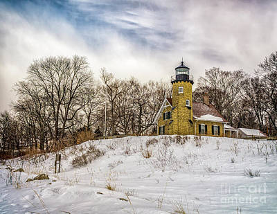 Poster featuring the photograph Cold Day At White River Lighthouse by Nick Zelinsky