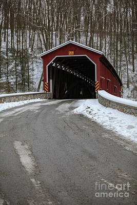 Colemansville Covered Bridge After Winter Snow Poster