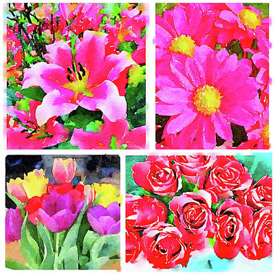 Collage Of Digital Watercolor Paintings Of Flowers Poster