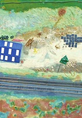 Railroad Yard With Shed From A Hot Air Balloon Poster