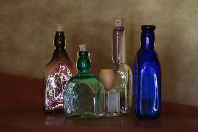 Collection Of Vintage Bottles Photograph Poster