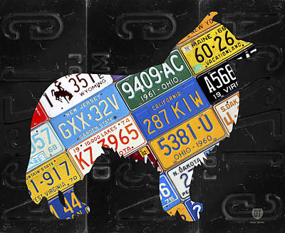 Collie Dog Pet Owner Love Vintage Recycled License Plate Artwork Poster