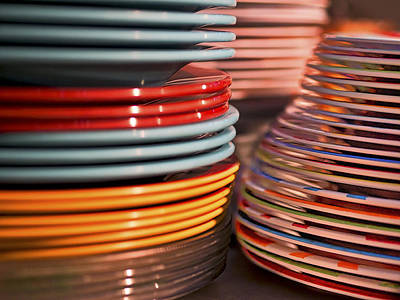 Coloful Stacks Of Plates Poster