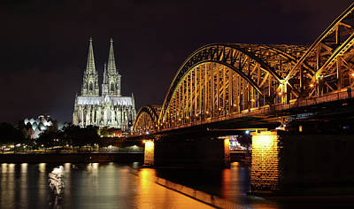 Cologne Cathedral And Bridge Poster by Holger Ostwald