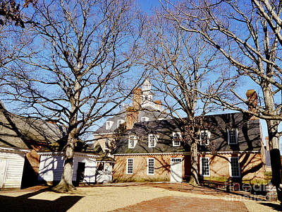 Colonial Courtyard Winter Scene Poster by Rachel Morrison