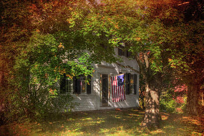 Colonial Home With Flag In Autumn Poster