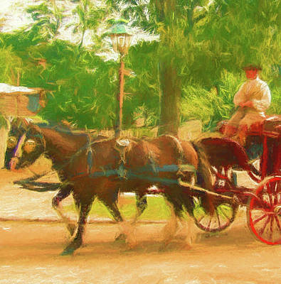 Colonial Horse And Carriage Poster by Marti Snider