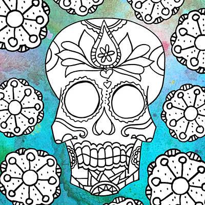 Color Splash Sugar Skull Series Sand Dollars Poster