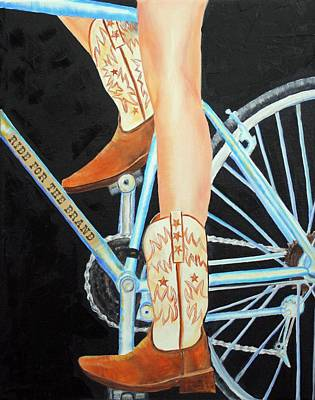 Poster featuring the painting Colorado Cyclist by Jennifer Godshalk