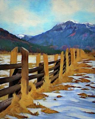 Poster featuring the painting Colorado Fence Line  by Jeff Kolker
